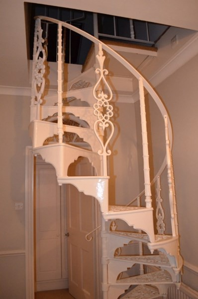 Primary Image - Cast Metal White Spiral Staircase with Balcony Railings