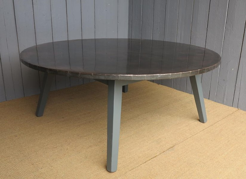 Primary Image - Antiqued Copper Round Table with Painted Oak Base