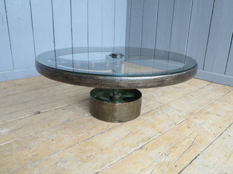Large Vintage Industrial Glass and Cast Iron Coffee Table