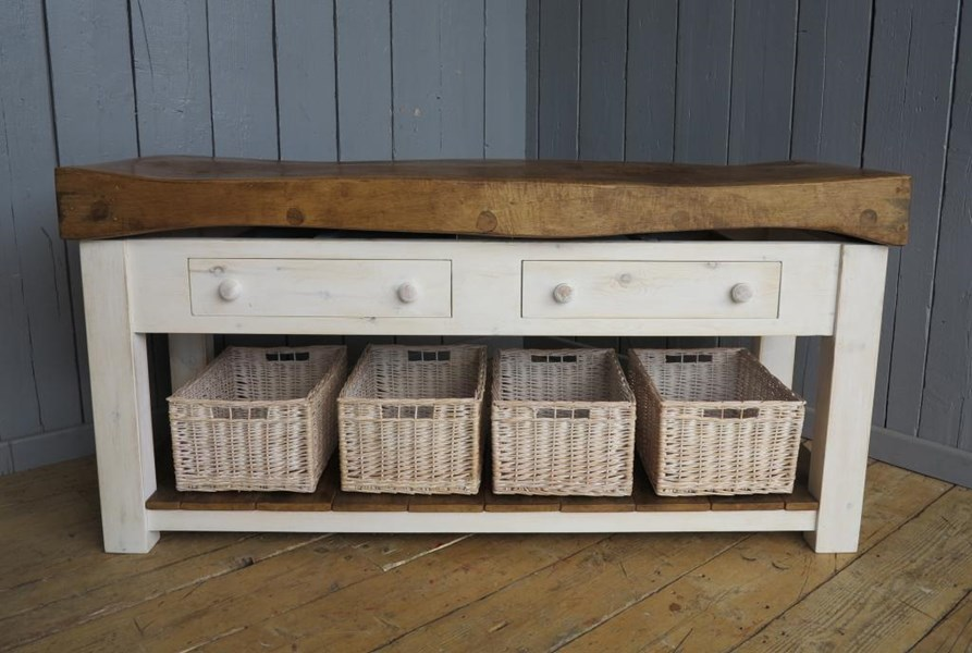 Primary Image - Antique Butchers Block With Baskets