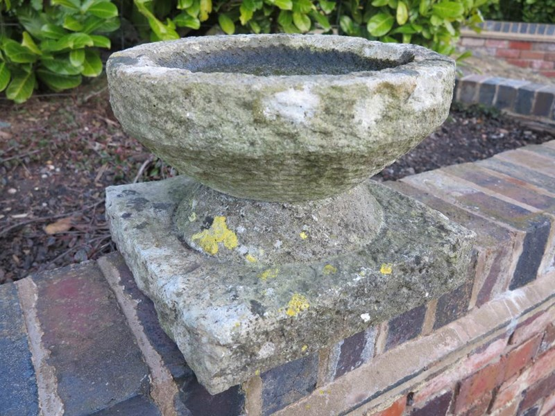 Hand Carved Small Garden Birdbath