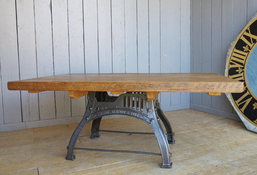 Reclaimed Pine Table with Antique Cast Iron Painted Base