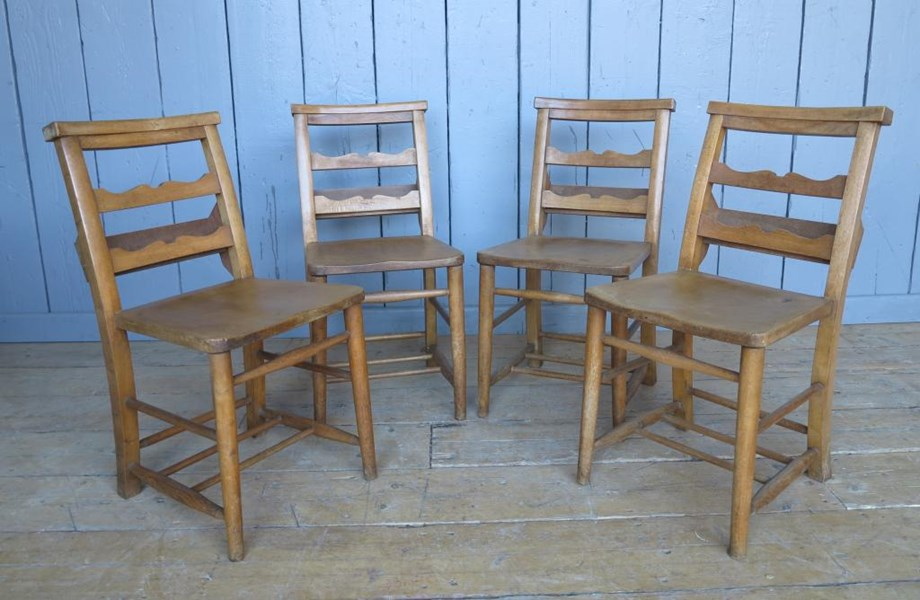 Set of 4 Antique Church Chairs with Lovely Back Rail Detail