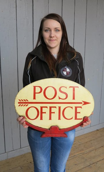 Original Royal Mail Double Sided Post Office Enamel Sign