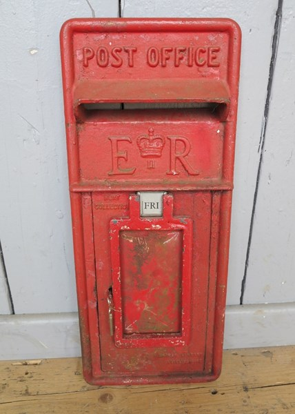 Original Royal Mail Red Post Office ER Post Box Front
