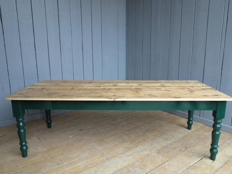 Reclaimed Floorboard Top Farmhouse Table