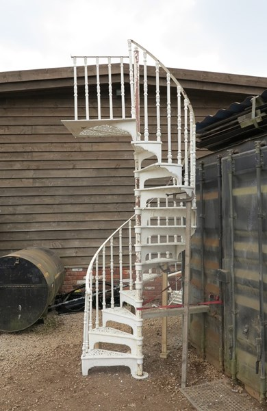 Primary Image - Cast Metal White Spiral Staircase with Landing Plate