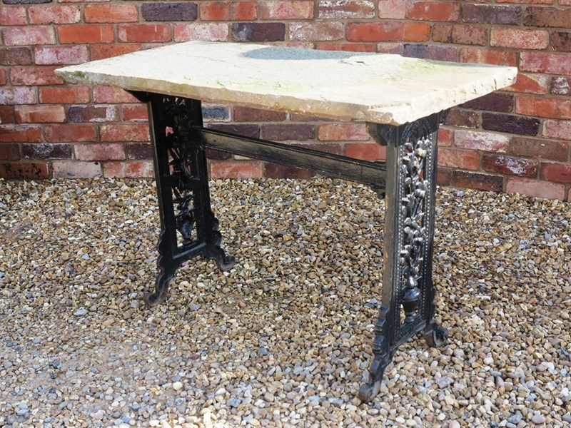 Reclaimed Cast Iron Garden Antique Table With Stone Top
