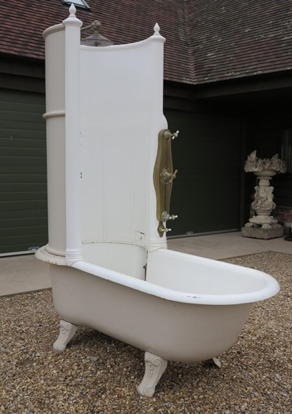 Antique Cast Iron Canopy Shower Bath With Brass Fittings