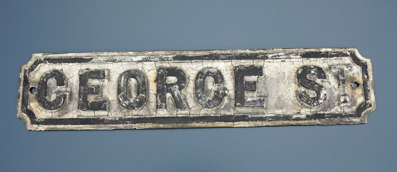 Original Cast Iron 'GEORGE ST' Street Sign