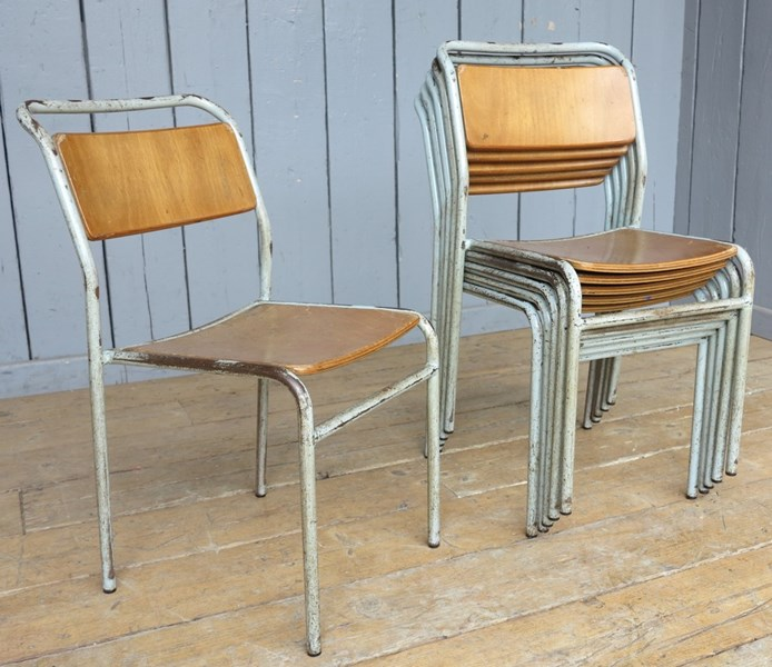 Grey Tubular Plywood Seat Stacking Chairs