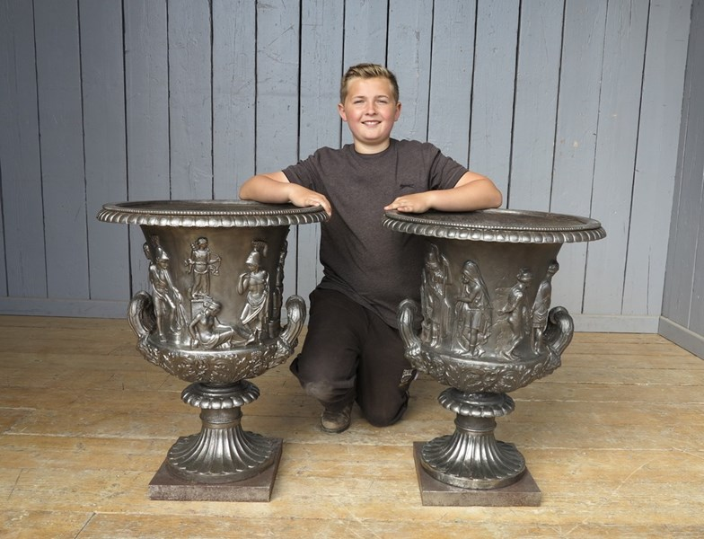 Pair of Magnificent Hand Burnished Medici Cast Iron Urns