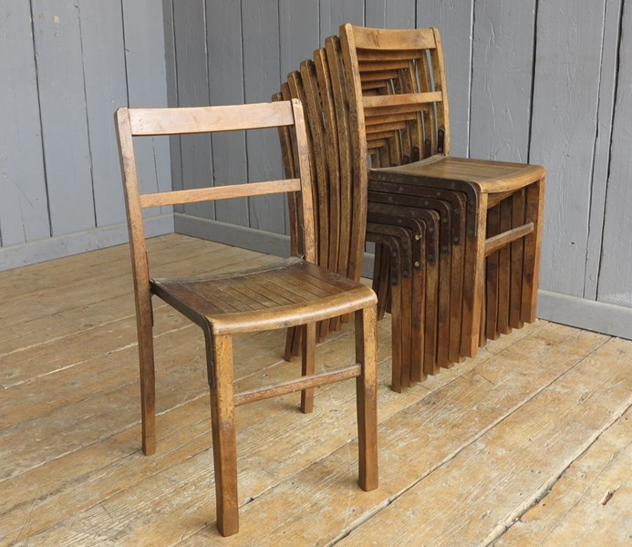 Vintage Wooden Stacking Chairs