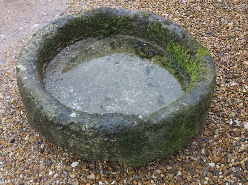 Antique Round Stone Garden Trough