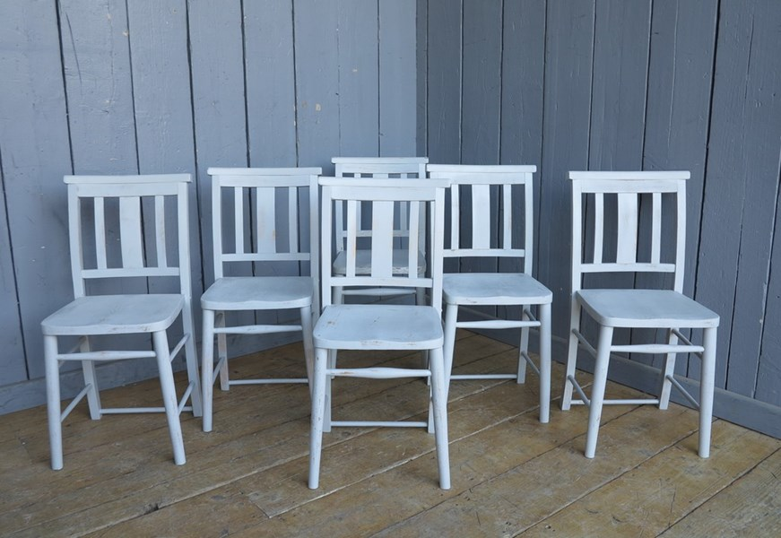 Set of 6 Hand Painted Distressed Kitchen Church Chairs