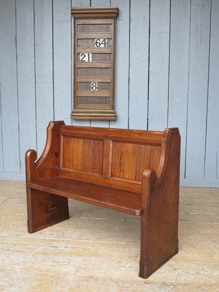 Antique Pitch Pine Church Pew