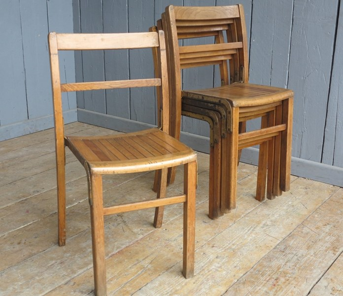 Vintage Wooden & Iron Reclaimed Stacking Chairs