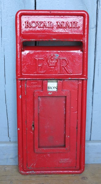 Royal Mail Red Post Office ER Post Box Cast Iron Front