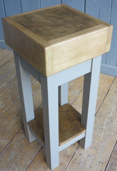 Antique Waxed Butchers Block on Painted Base