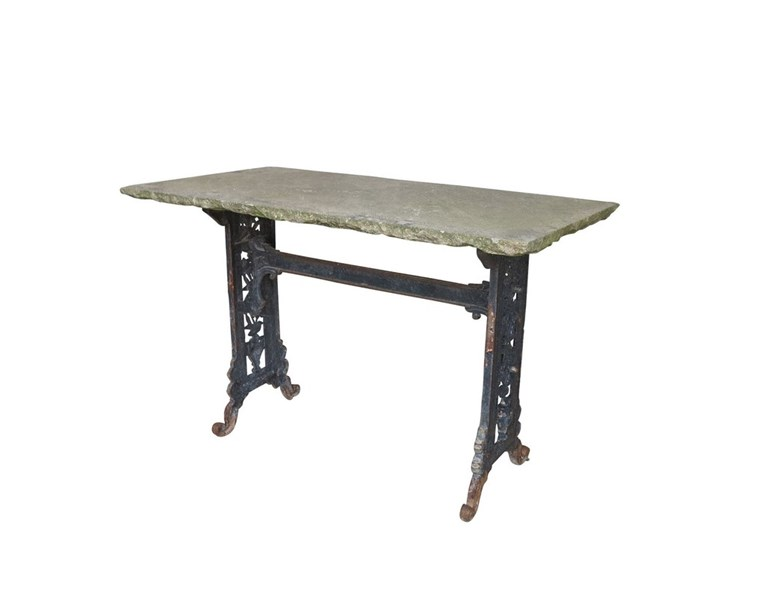 Antique Black Cast Iron Garden Table With Stone Top