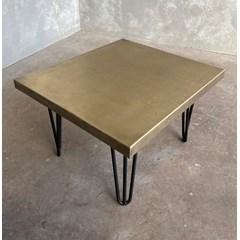 Antique Brass Coffee Table With Hairpin Legs