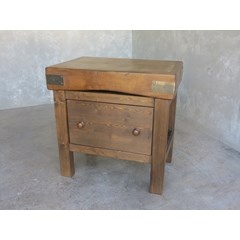 Antique Butchers Block On Dark Waxed Base