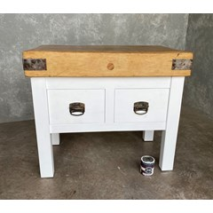 Antique Butchers Block On New Wooden Base