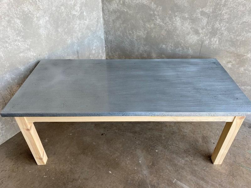 bespoke antique distressed zinc top kitchen table