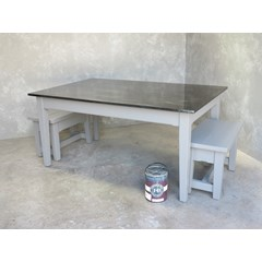 Antique Finish Zinc Kitchen Table With Benches