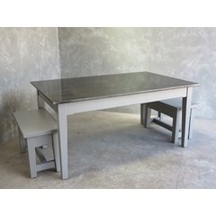 Antique Finish Zinc Table With Wooden Benches