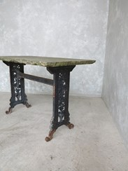 Antique Reclaimed Cast Iron Garden Table With Stone Top