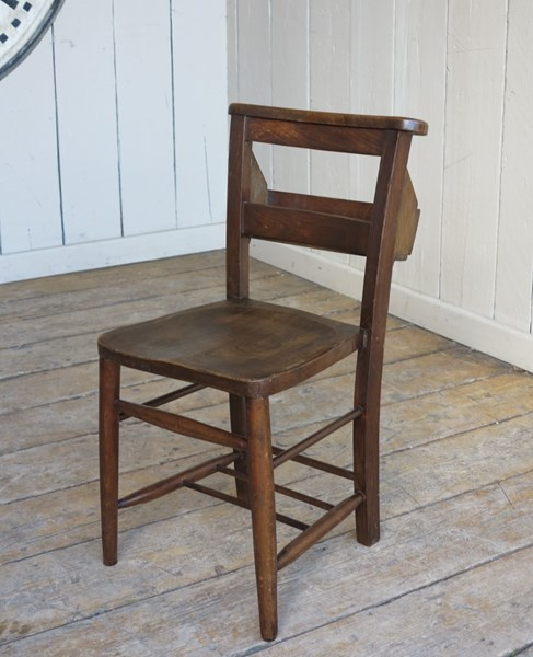 Antique Wooden Dark Church Chairs With Bible Backs