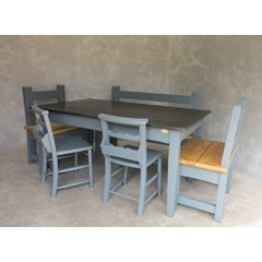 Bespoke Made Zinc Table, Benches And Chairs