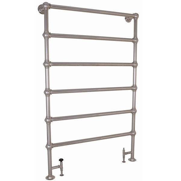 Carron Large Colossus 6 Bar Nickel Floor Mounted Dual Fuel Towel Rail