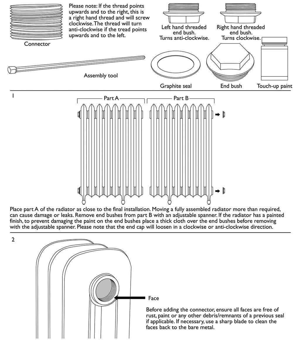 Parts trolley transport and positioning radiators//cast iron radiators