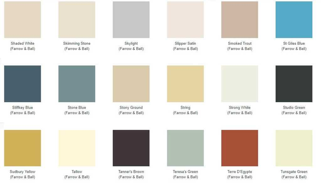 Farrow and Ball paint colour swatches