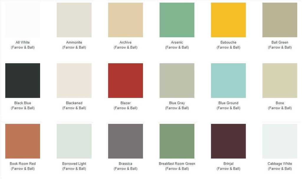 Farrow and Ball Vintage Radiator Paint Chart