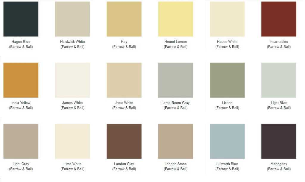 Swatches for Farrow and Ball radiator paints