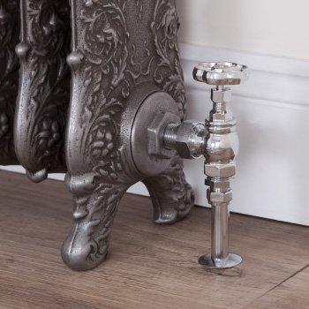 Cast iron radiator trv, thermostatic and manual valves
