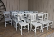 Church chairs painted at UKAA in Cannock Wood