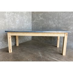 Distressed Zinc Table With Wooden Legs