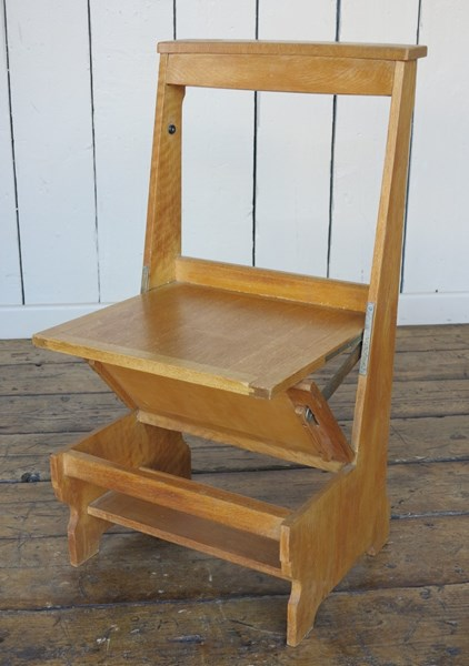 Early 20th Century Solid Oak Arts & Crafts Church Chairs