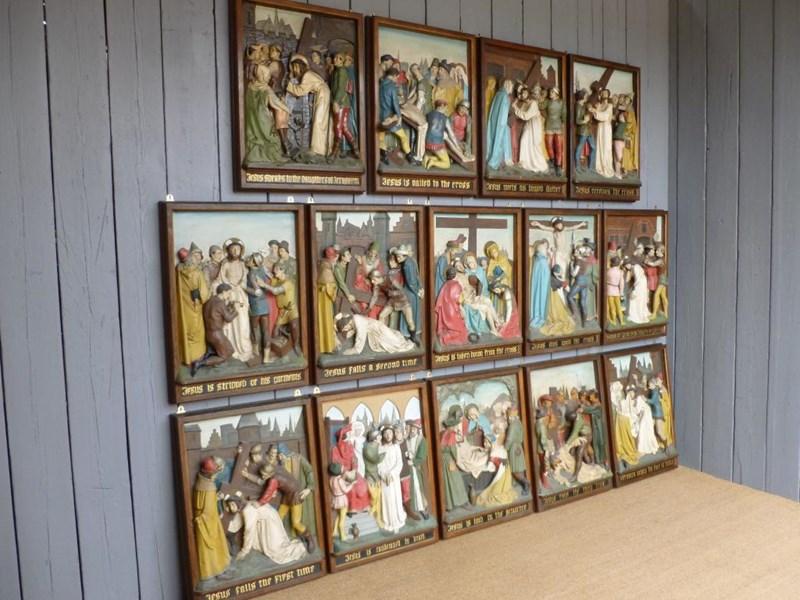 Set Of 14 Oak Stations Of The Cross