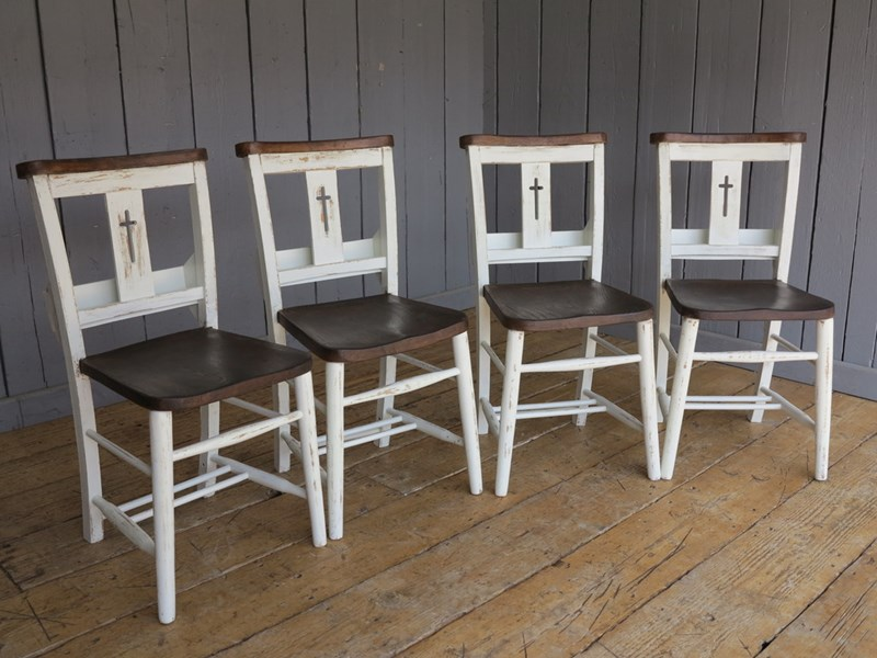 Farrow & Ball Distressed Finish Painted Church Chairs