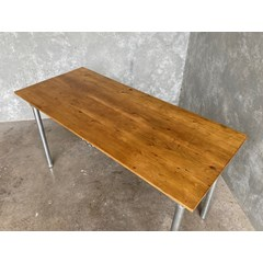 Floorboard Table With Metal Base