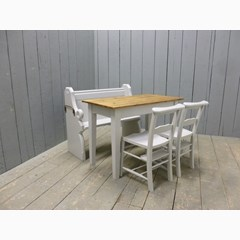 Floorboard Top Table, Church Pew & Chairs