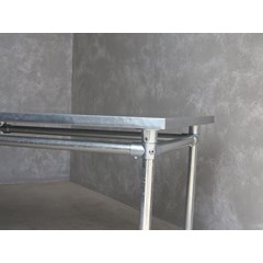 Galvanised Metal Table Base With Zinc Top