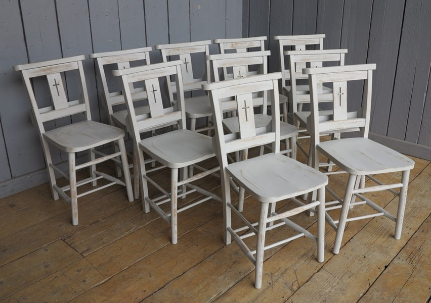 Hand Distressed Finish Painted Church Chairs