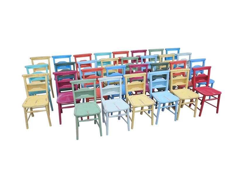 Hand Painted Antique Church Chairs With Bible Backs
