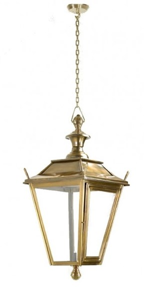 Hanging Brass Square Lantern On Chain